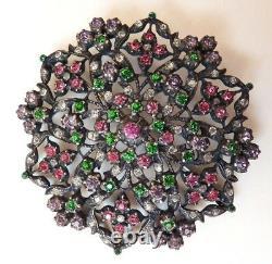 Grande broche argent massif + pierres de couleur 19e s silver brooch 34 gr