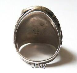 Grosse Bague d' homme en ARGENT + turquoise Bijou ancien silver ring Navajo
