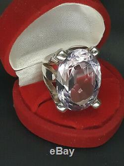 Grosse bague en Argent Silver Massif 925 sertie d'une pierre Amethyste