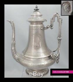 HARLEUX ANTIQUE 1890s FRENCH STERLING SILVER COFFEE POT LOUIS XVI Acanthus 757g