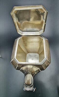 HENIN & Cie SERVICE à THÉ / CAFÉ ART DÉCO ARGENT MASSIF solid silver tea service