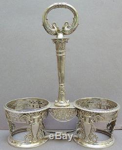 Huilier saliere argent Empire vieillard armoiries couronne silver salt cygne