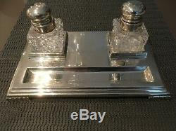 INKSTAND MAPPIN & WEBB STERLING SILVER LARGE ENCRIER argent SHEFFIELD 1947