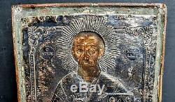Icone Byzantine Grecque Xviieme Tempera Riza Argent Tughra Icon Silver Greek