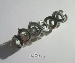 Important bracelet ancien créateur Taxco Mexique Argent massif 925 67g Silver