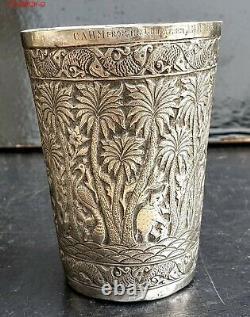 Indes Grande Timbale Gobelet Decor Animaux Elephants Jungle Indian Silver Beaker