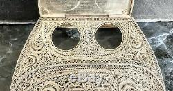 Indo-portugais Rare Encrier Argent Filigranes Inkwell Filigree Silver Orissa Goa