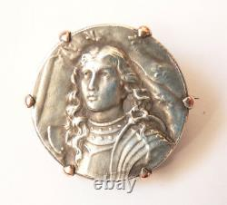 JEANNE D'ARC Broche argent massif 19e siècle silver medal JOAN OF ARC