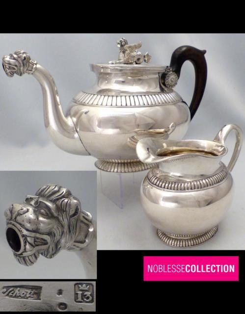 Johann Martin Schott Frankfurt 1810s Antique Sterling Silver Teapot & Creamer