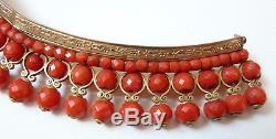 Joli Diadème corail + vermeil + or 19e s silver comb tiara peineta coral comb