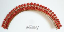 Joli Diadème corail + vermeil + or 19e silver comb tiara peineta coral comb