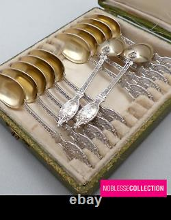 LABAT ANTIQUE 1900 FRENCH STERLING SILVER & GOLD COFFEE SPOONS SET 12pc Acanthus