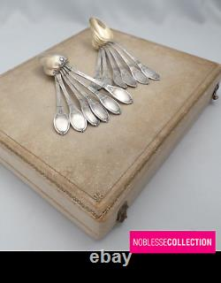 LAPPARRA ANTIQUE FRENCH STERLING SILVER & VERMEIL COFFEE SPOONS SET 12pc Empire