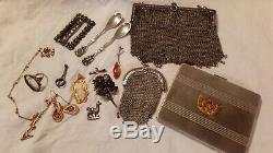 LOT ARGENT MASSIF XIXe XXe boîte sac porte-louis bijoux sterling silver lot