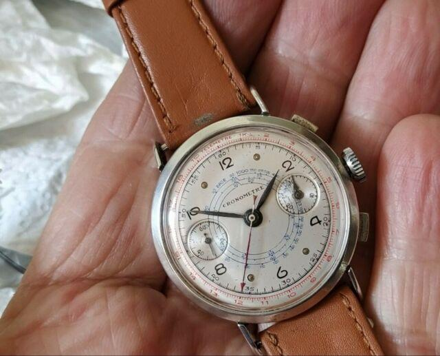 Landeron 39 Chronographe Argent Massif All Solid Silver Rare And Beautiful