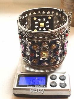 Large 154g Silver Antique Berber Bracelet Kabyle Ancien Argent Massif Ethnique
