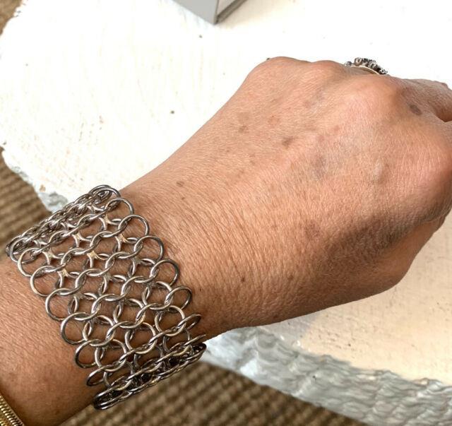 Large Bracelet Manchette Argent Minerve Style Paco Rabanne Ancien Vintage Silver