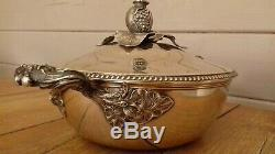 Légumier soupière argent massif 19ème armoiries poinçon minerve sterling silver