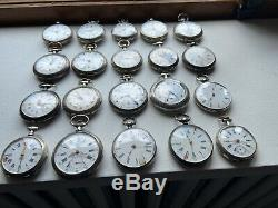Lot De 20 Montres A Gousset En Argent Massif Silver Pocket Watch Uhr Silber