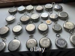 Lot De 24 Montres A Gousset En Argent Massif Silver Pocket Watch Uhr Silber