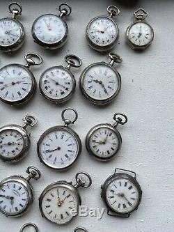 Lot De 41 Montres A Gousset En Argent Massif Silver Pocket Watch Uhr Silber