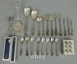 Lot couverts argent massif antiko 800 solid silver Hildesheimer rose 364gr