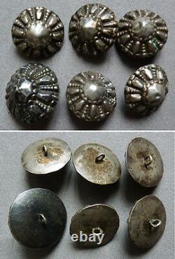 Lot de 6 boutons bosse anciens en ARGENT bijou regional silver button