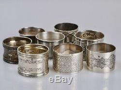 Lot de 8 Ronds de Serviette Argent Massif 220 g Minerve silver
