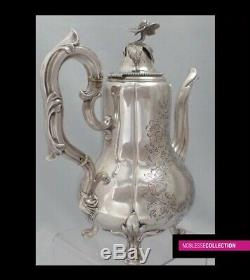 MARTIAL FRAY ANTIQUE 1850s FRENCH STERLING SILVER TEAPOT COFFEE POT NAPOLEON III