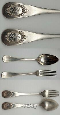 MENAGERE ARGENT MASSIF 70 PIECES 4,600 Kg XIXeme POINCON H. T French silver