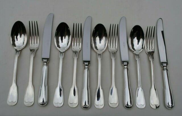 Menagere Couverts De Table 12pc Argent Massif Filet Sterling Silver Dinner Set