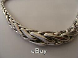 Magnifique Enorme Collier Argent Massif Maille Palmier 70grammes Necklace silver
