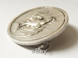 Médaille ARGENT massif signé Jules BRATEAU Hibou Art Nouveau coq silver medal