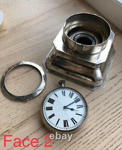 Montre Gousset Encrier Inkwell Double Face Watch Two Face Silver 1905 8 days