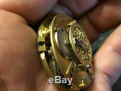 Montre Mouvement au Coq Argent Massif Antique Clock French Silver Poche Gousset