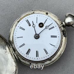 Montre à coq Ancienne en Argent Massif Pocket Watch Silver Gousset XIX
