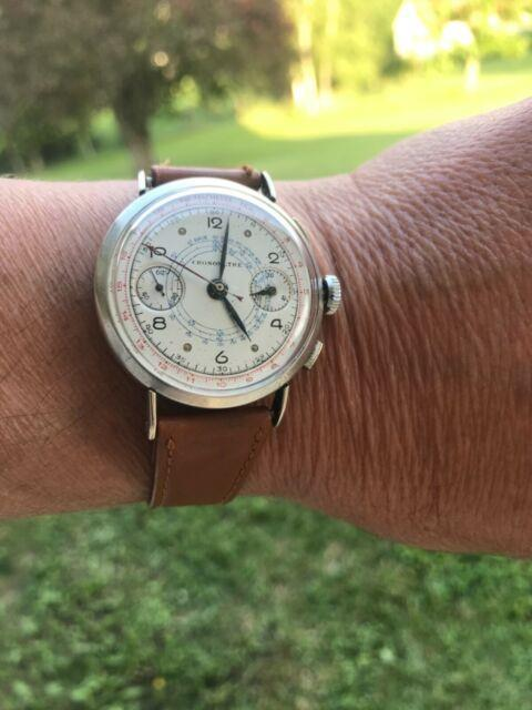 Montre Chronographe Suisse Landeron 39 Argent Massif All Silver Chrono Watch