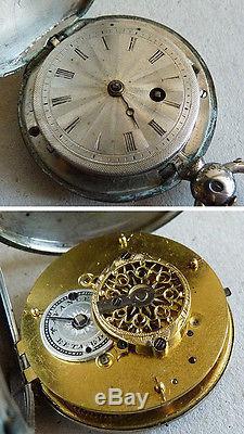 Montre de gousset à coq savonette fin 18e siècle ARGENT massif silver watch