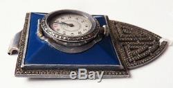 Montre de sac en laque et ARGENT massif silver bag watch ART DECO 1925 G. S