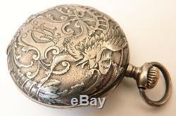 Montre gousset argent massif 19e siècle silver pocket watch aigle Griffon eagle