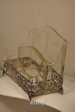 Necessaire Bureau Ancien Argent Massif Cristal Antique Solid Silver Office Set
