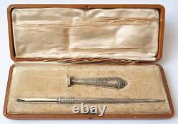 Nécessaire bureau écriture ARGENT massif vers 1900 silver sceau porte plume seal