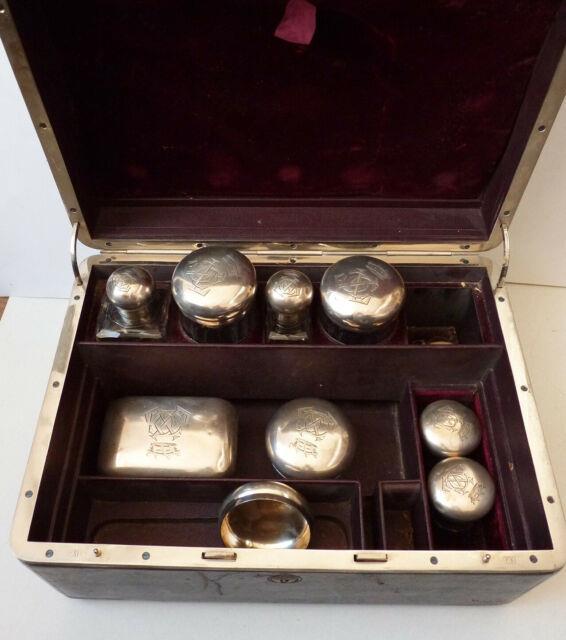 Nécessaire De Toilette Argent Et Cristal Couronne De Baron Flacons Silver Crown