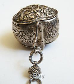 Nécessaire fumeur breloques boites ARGENT chatelaine Chine 19e s silver smoker