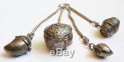 Nécessaire fumeur breloques boites ARGENT chatelaine Chine 19e siècle silver
