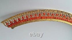 Old French Wedding Tiara Silver Gilded Coral Ancien Diadème Corail Vermeil