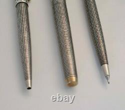 PARKER, Parure Stylo ARGENT MASSIF, Plume, Bille, Porte mines Silver Pen Set