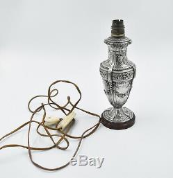 PIED DE LAMPE EN ARGENT MASSIF MINERVE STYLE LOUIS XVI (french silver lamp)