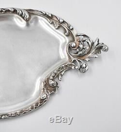 PLATEAU EN ARGENT MASSIF MINERVE STYLE LOUIS XV ROCAILLE (silver tea tray)