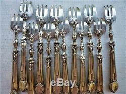PUIFORCAT 12 FOURCHETTES A HUITRE ARGENT MASSIF ART NOUVEAU Silver Oyster Forks
